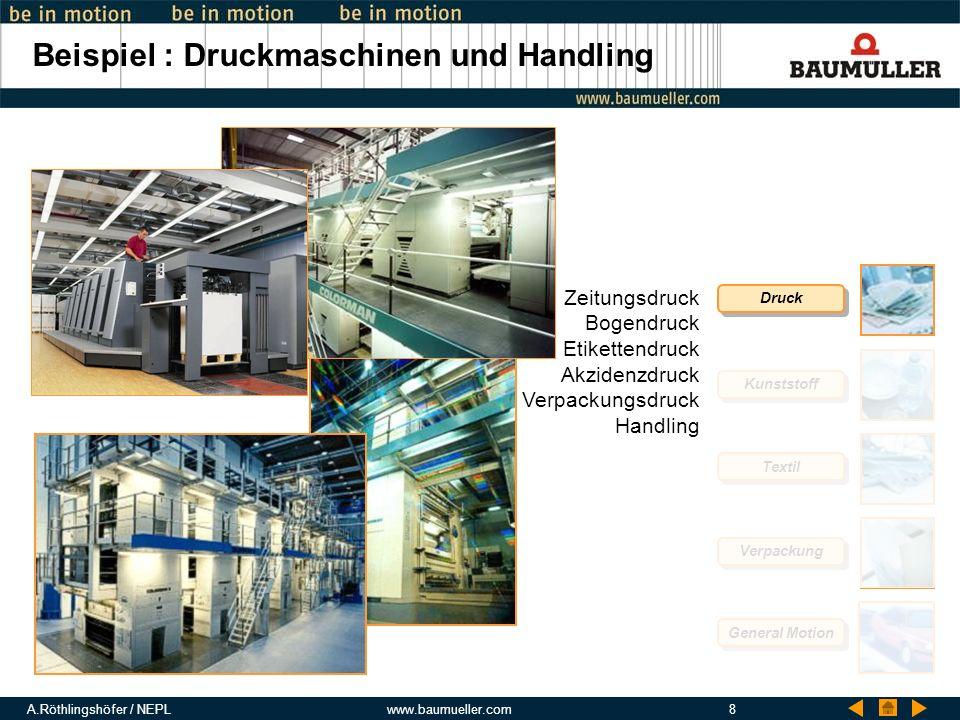Beispiel : Druckmaschinen und Handling