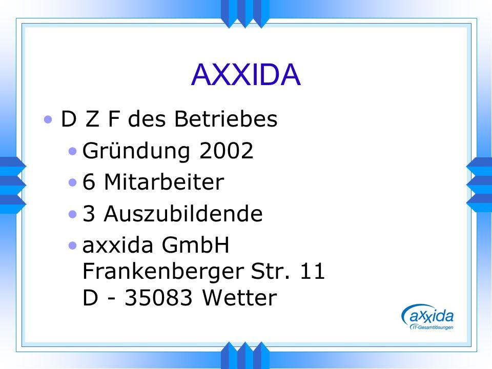 AXXIDA D Z F des Betriebes Gründung 2002 6 Mitarbeiter 3 Auszubildende