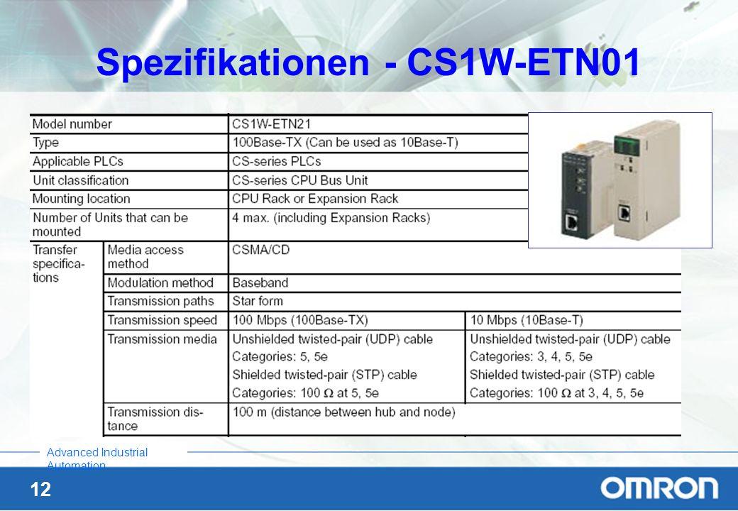 Spezifikationen - CS1W-ETN01