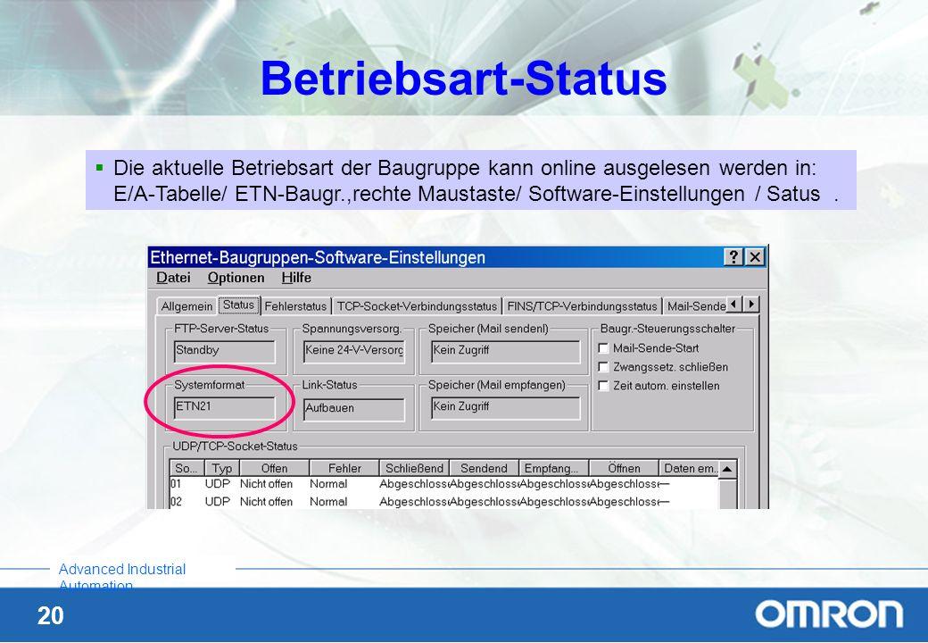 Betriebsart-Status