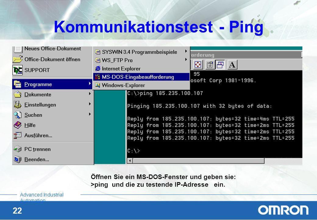 Kommunikationstest - Ping