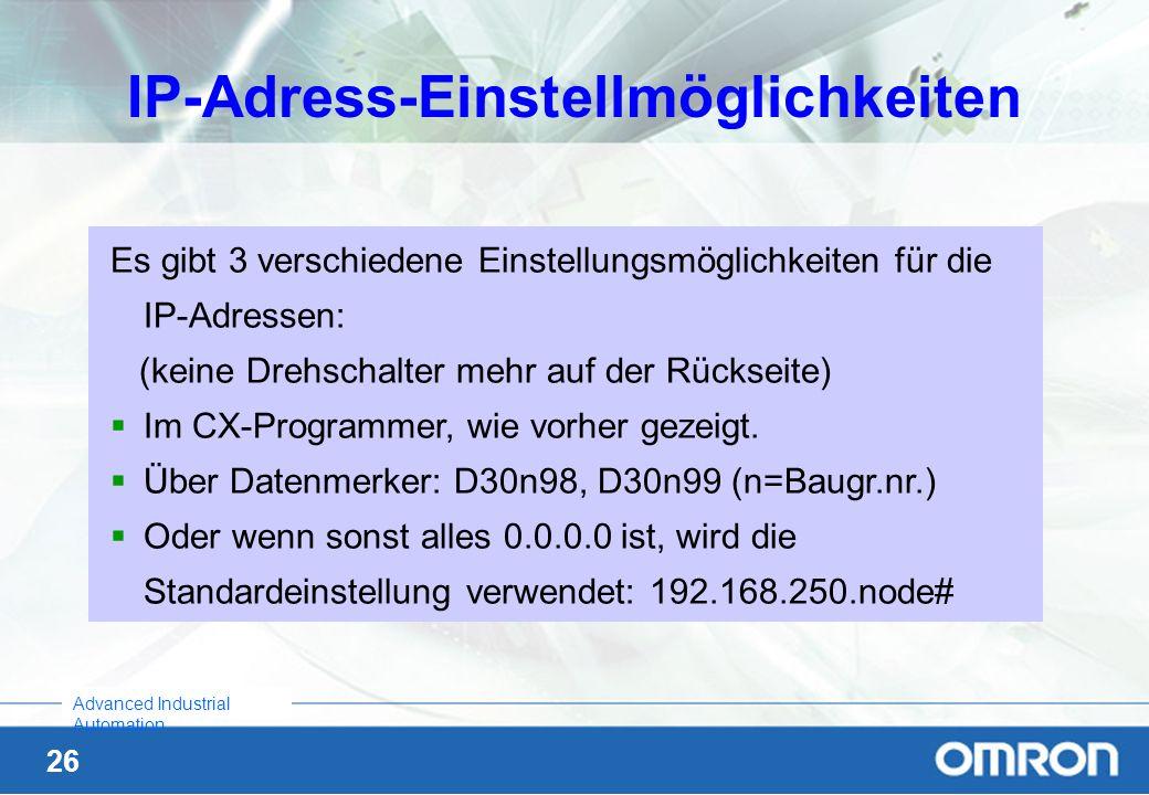 IP-Adress-Einstellmöglichkeiten