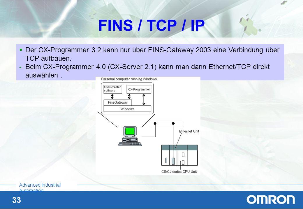 FINS / TCP / IP Der CX-Programmer 3.2 kann nur über FINS-Gateway 2003 eine Verbindung über TCP aufbauen.