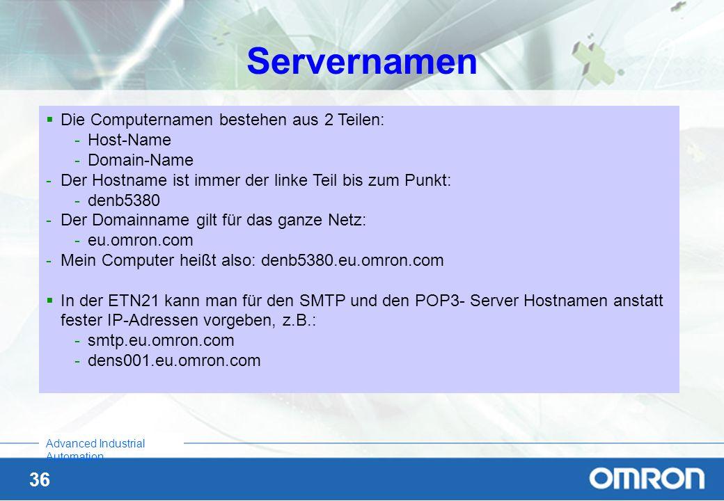 Servernamen Die Computernamen bestehen aus 2 Teilen: Host-Name