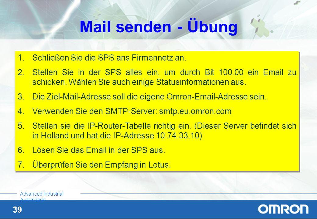 Mail senden - Übung Schließen Sie die SPS ans Firmennetz an.