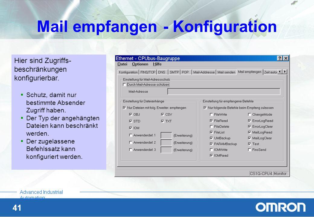 Mail empfangen - Konfiguration