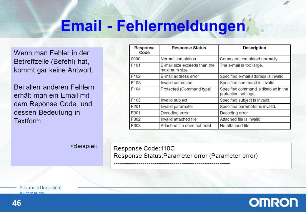 Email - Fehlermeldungen