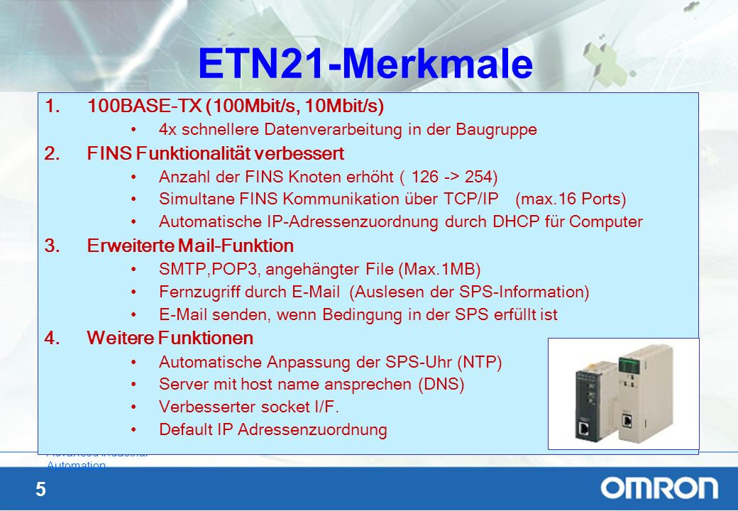 ETN21-Merkmale 100BASE-TX (100Mbit/s, 10Mbit/s)
