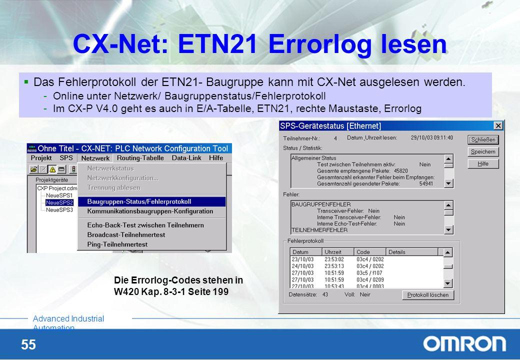CX-Net: ETN21 Errorlog lesen