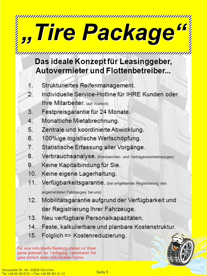 """""""Tire Package Das ideale Konzept für Leasinggeber, Autovermieter und Flottenbetreiber..."""