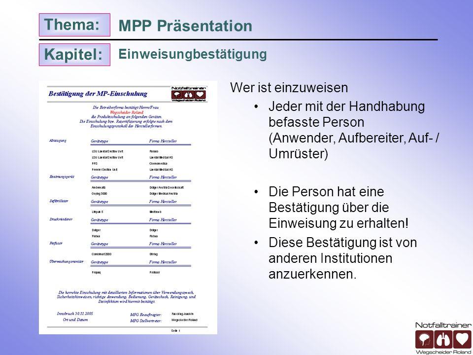 MPP Präsentation Einweisungbestätigung Wer ist einzuweisen