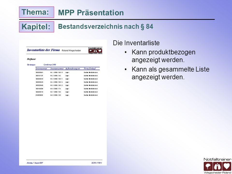 MPP Präsentation Bestandsverzeichnis nach § 84 Die Inventarliste