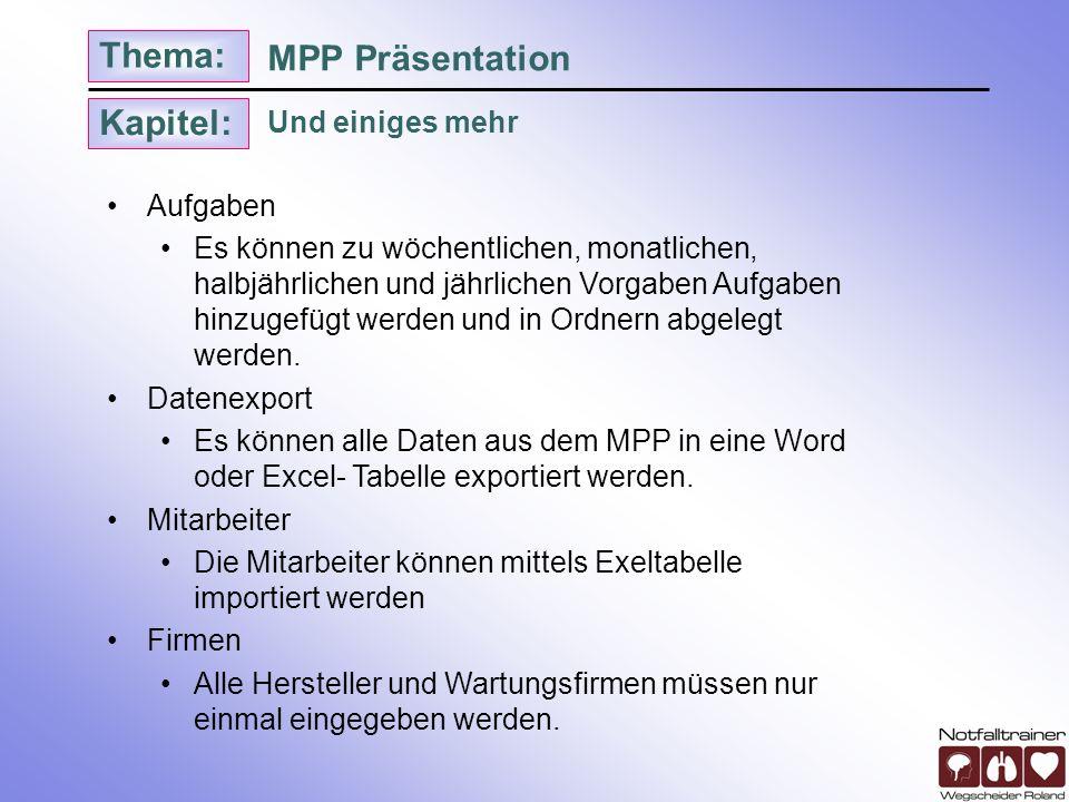 MPP Präsentation Und einiges mehr Aufgaben