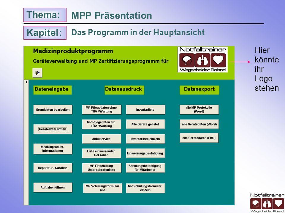 MPP Präsentation Das Programm in der Hauptansicht