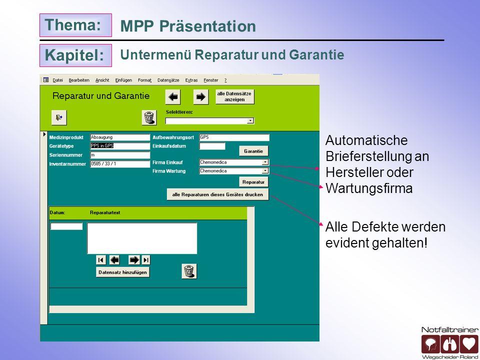 MPP Präsentation Untermenü Reparatur und Garantie