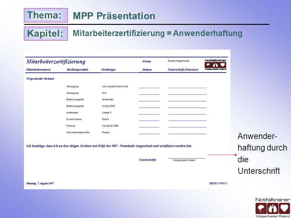MPP Präsentation Mitarbeiterzertifizierung = Anwenderhaftung Anwender-