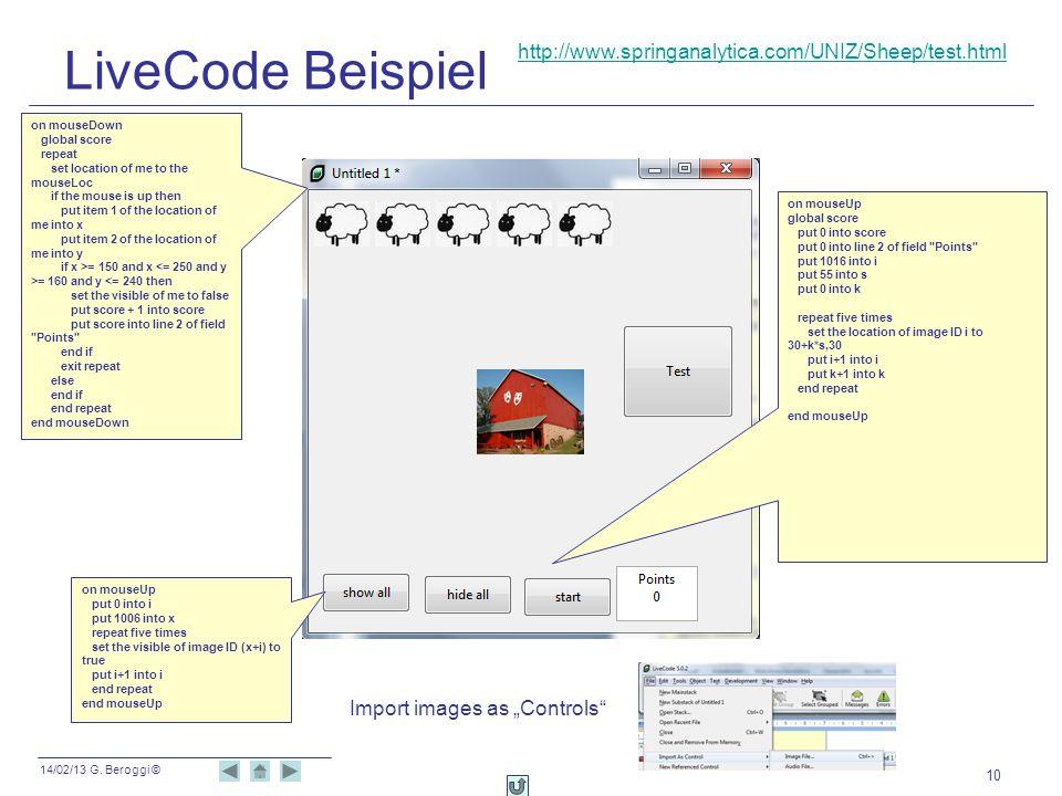 LiveCode Beispiel http://www.springanalytica.com/UNIZ/Sheep/test.html