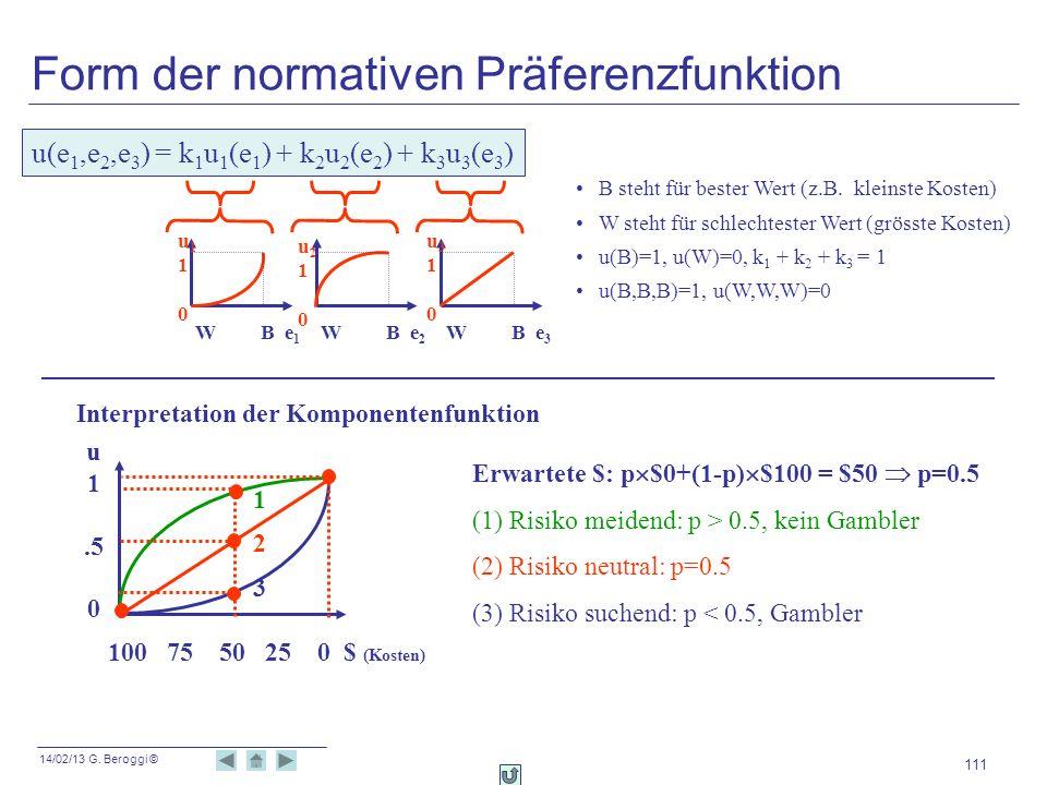 Form der normativen Präferenzfunktion
