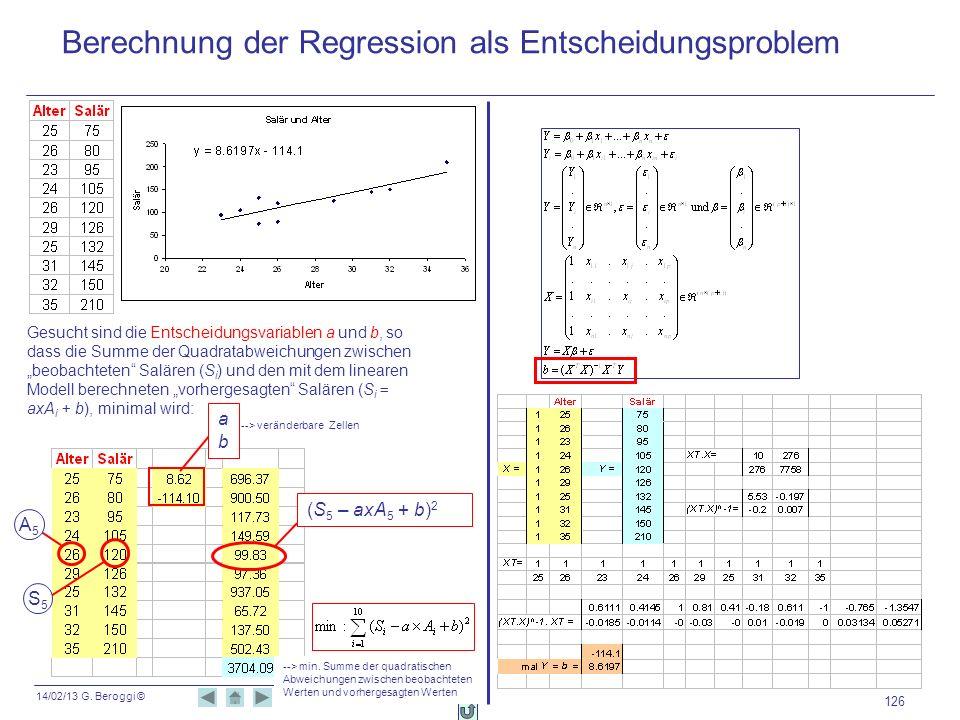 Berechnung der Regression als Entscheidungsproblem