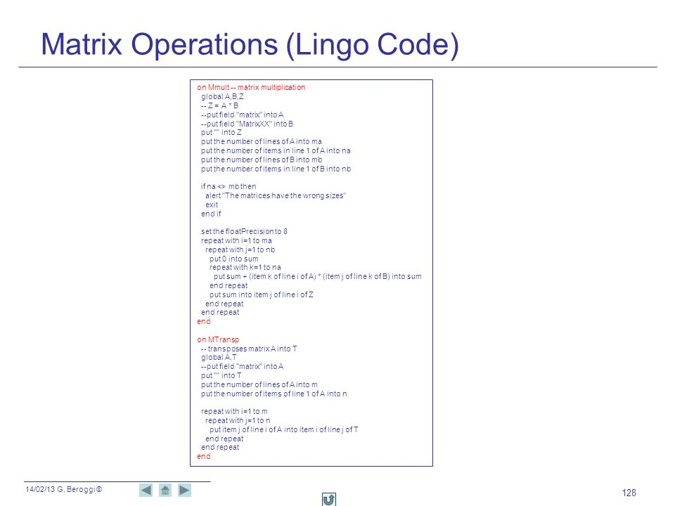Matrix Operations (Lingo Code)