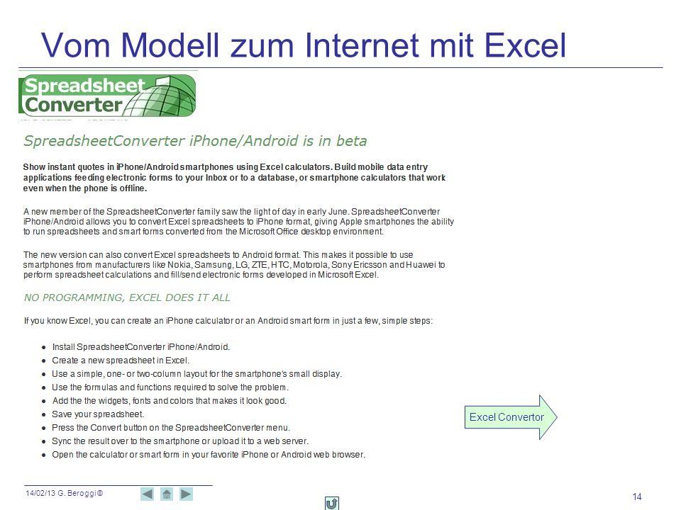 Vom Modell zum Internet mit Excel