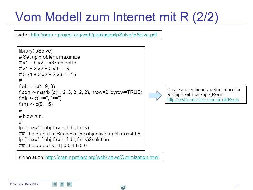 Vom Modell zum Internet mit R (2/2)