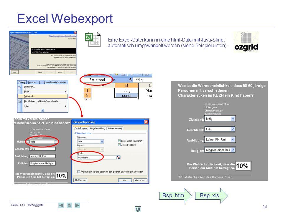 Excel Webexport Bsp. htm Bsp. xls