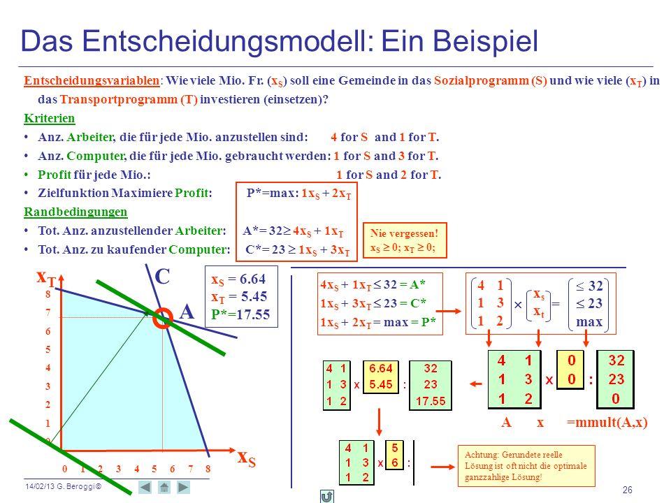 Das Entscheidungsmodell: Ein Beispiel