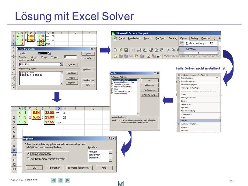 Lösung mit Excel Solver