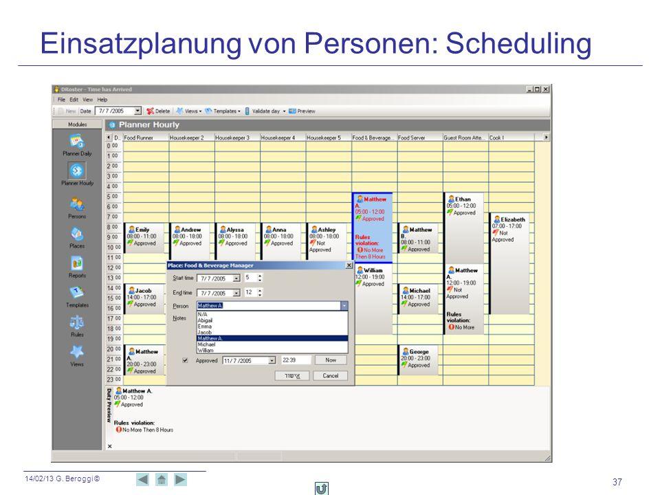 Einsatzplanung von Personen: Scheduling