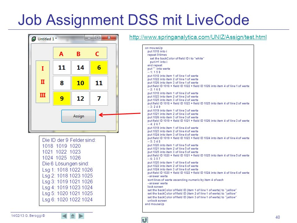 Job Assignment DSS mit LiveCode