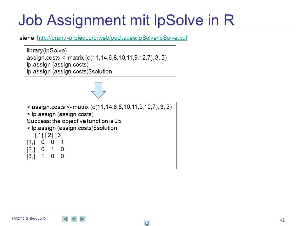 Job Assignment mit lpSolve in R