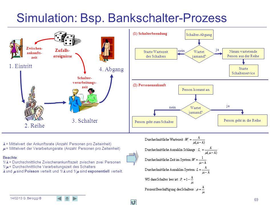 Simulation: Bsp. Bankschalter-Prozess