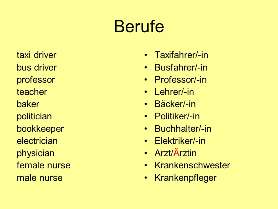 Berufe taxi driver bus driver professor teacher baker politician