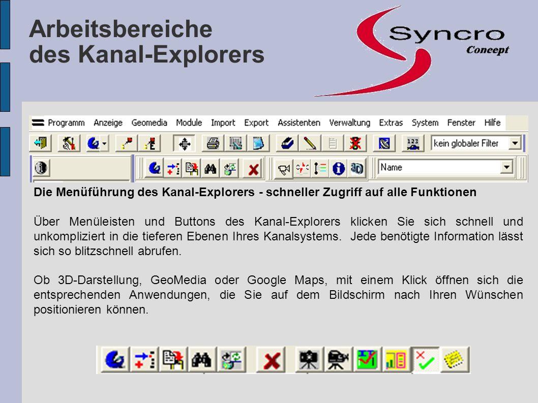 Arbeitsbereiche des Kanal-Explorers