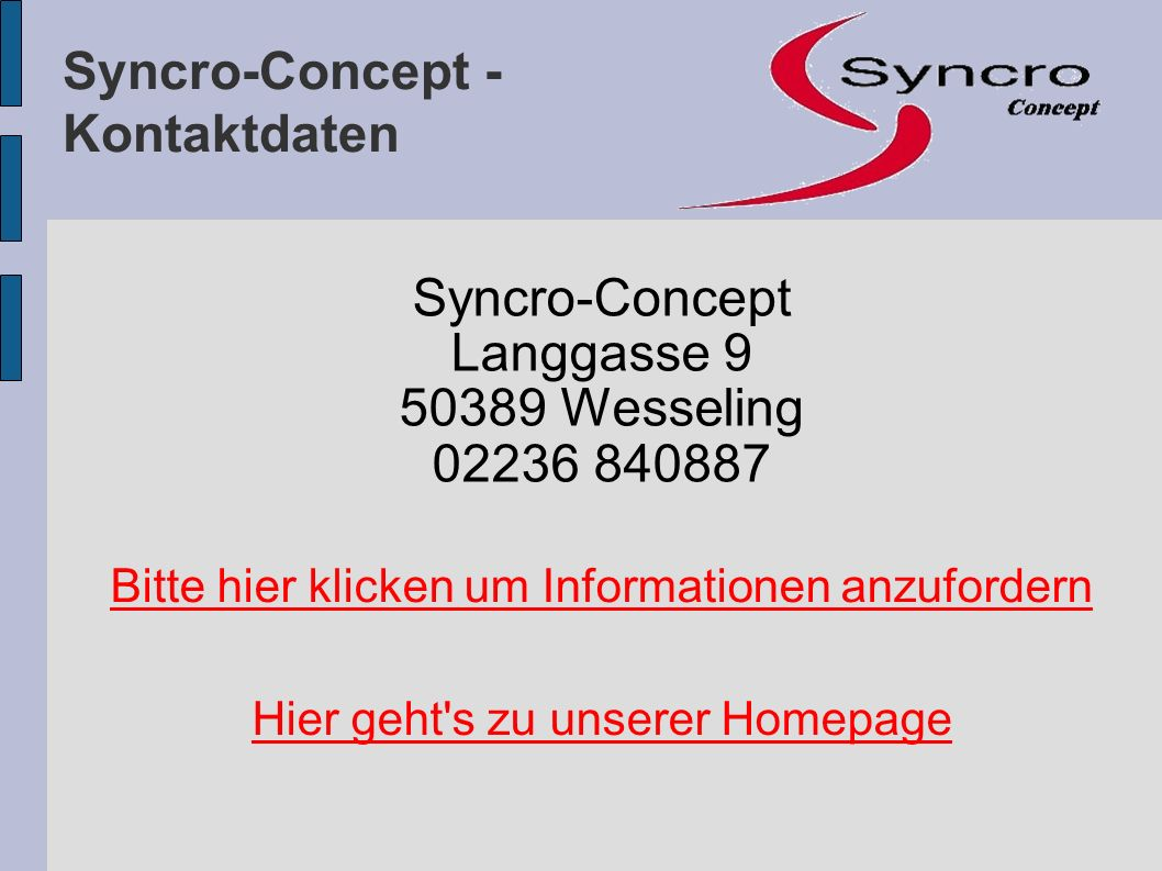 Syncro-Concept - Kontaktdaten Syncro-Concept Langgasse 9