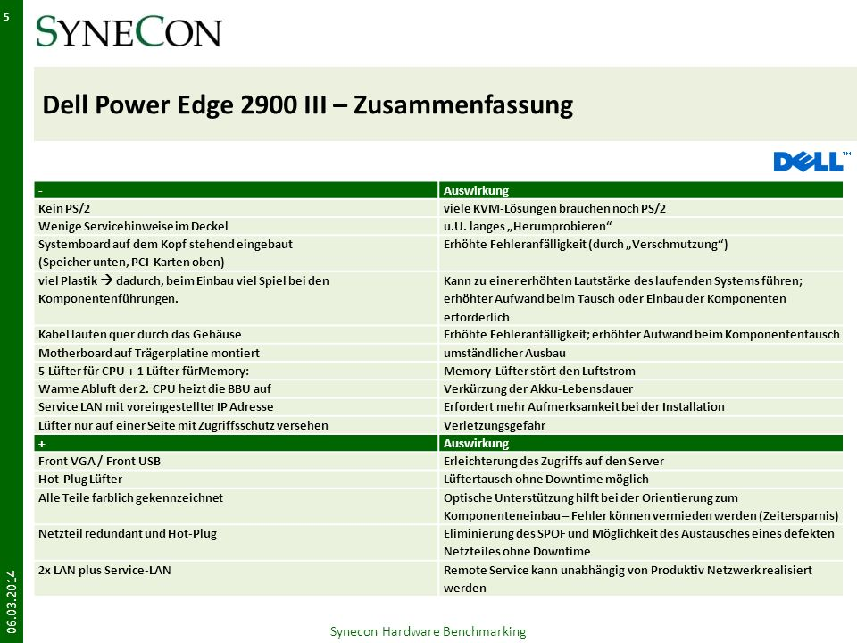 Dell Power Edge 2900 III – Zusammenfassung