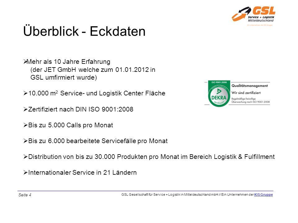 Überblick - Eckdaten Mehr als 10 Jahre Erfahrung (der JET GmbH welche zum 01.01.2012 in GSL umfirmiert wurde)
