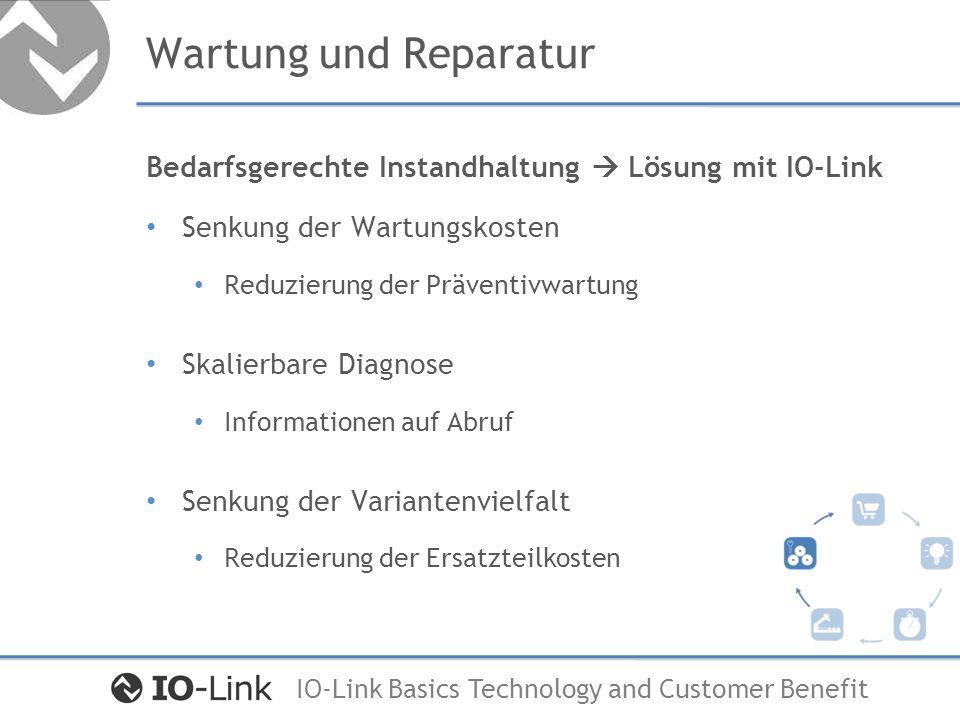 Wartung und Reparatur Bedarfsgerechte Instandhaltung  Lösung mit IO-Link. Senkung der Wartungskosten.