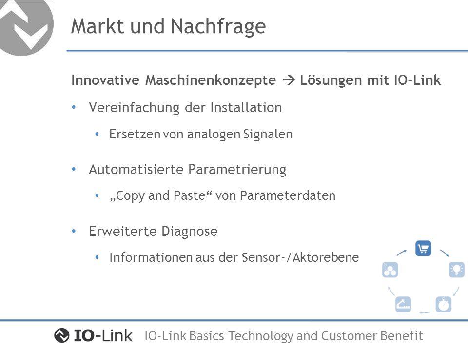 Markt und Nachfrage Innovative Maschinenkonzepte  Lösungen mit IO-Link. Vereinfachung der Installation.