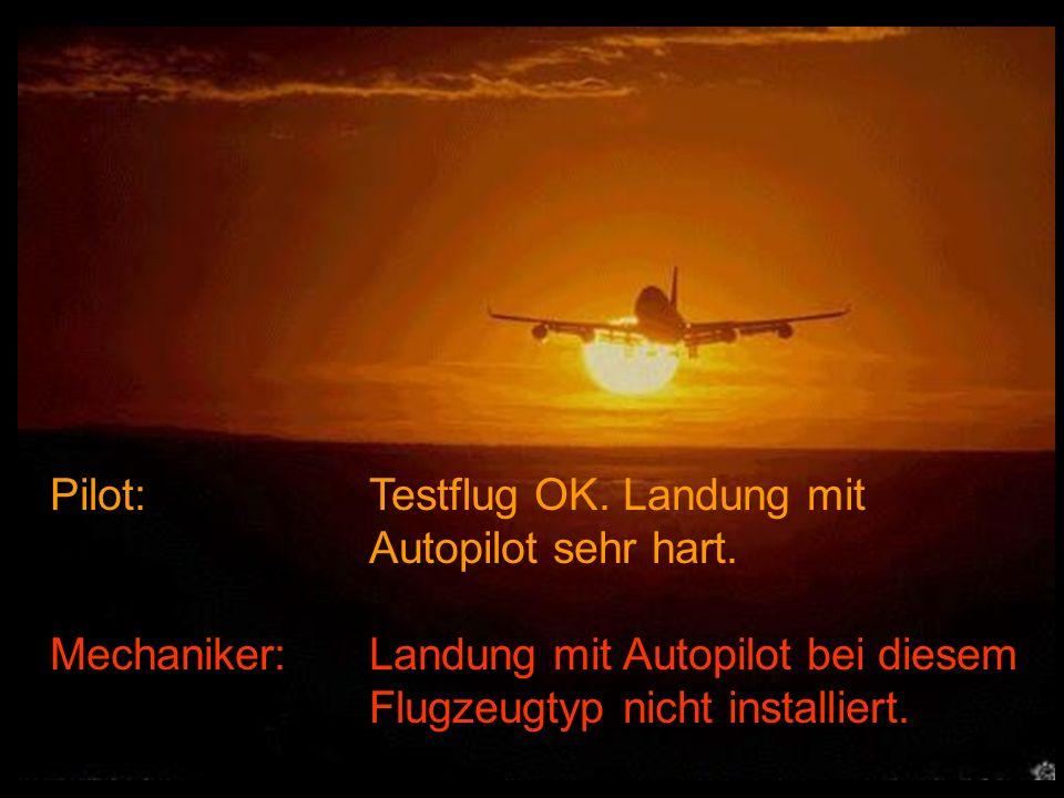 Pilot: Testflug OK. Landung mit