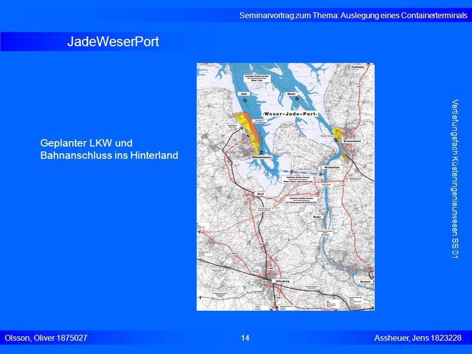 JadeWeserPort Geplanter LKW und Bahnanschluss ins Hinterland