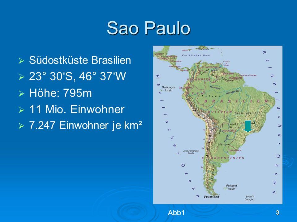 Sao Paulo 23° 30'S, 46° 37'W Höhe: 795m 11 Mio. Einwohner