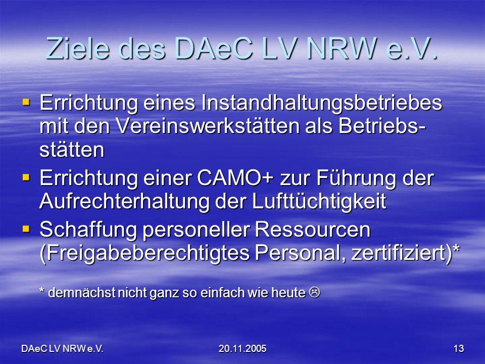 Ziele des DAeC LV NRW e.V. Errichtung eines Instandhaltungsbetriebes mit den Vereinswerkstätten als Betriebs-stätten.