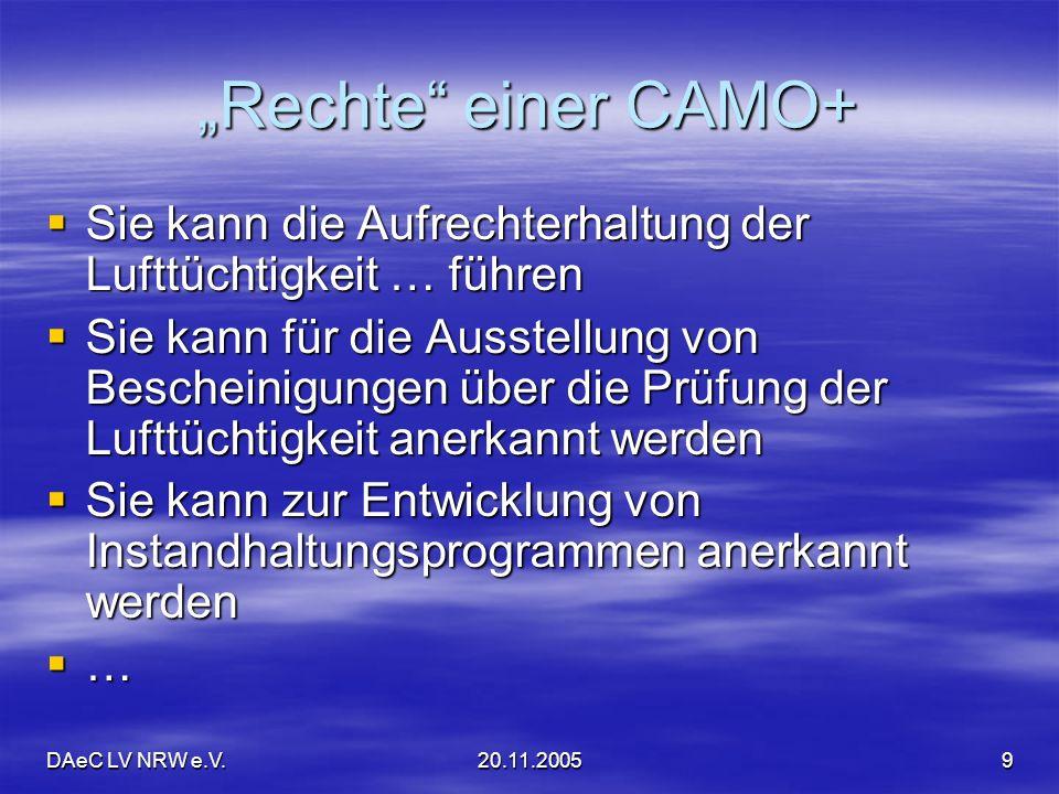 """""""Rechte einer CAMO+ Sie kann die Aufrechterhaltung der Lufttüchtigkeit … führen."""