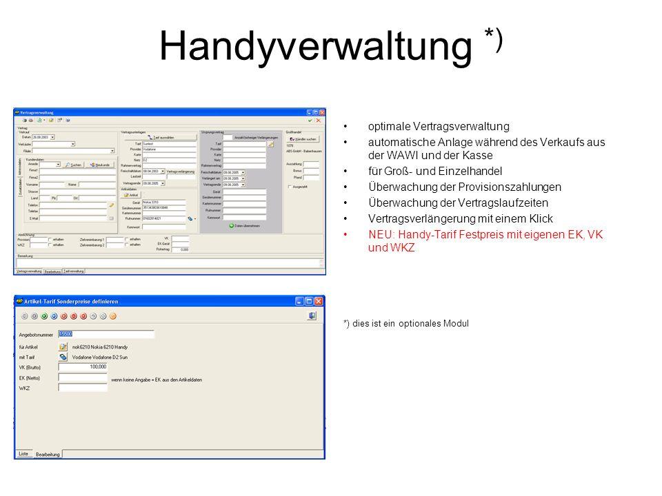 Handyverwaltung *) optimale Vertragsverwaltung