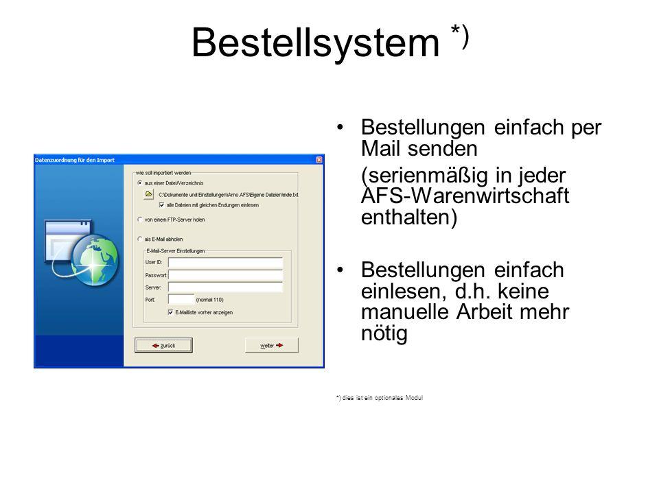 Bestellsystem *) Bestellungen einfach per Mail senden