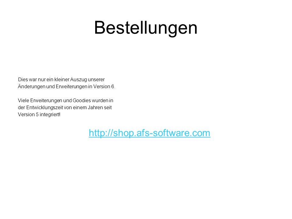 Bestellungen http://shop.afs-software.com