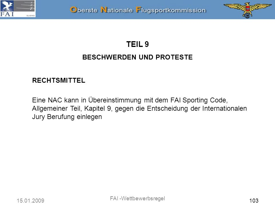 TEIL 9 BESCHWERDEN UND PROTESTE RECHTSMITTEL