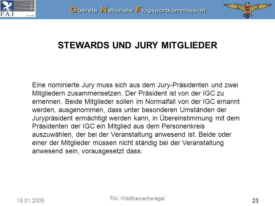 STEWARDS UND JURY MITGLIEDER